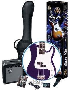 Essex Electric Bass Guitar & Amplifier Package Purple + Bag Strap Tuner Lead DVD