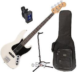 FENDER DLX ACTIVE J BASS GUITAR RW OWT with Stand and Tuner