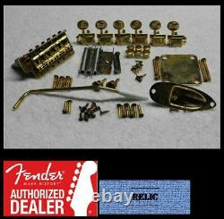 FENDER Stratocaster Aged Relic GOLD USA 2 1/16 Hardware Set with Tuners Strat