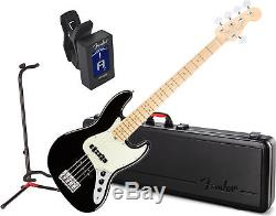 Fender American Pro Jazz Bass V w Case MN BK with Stand and Tuner