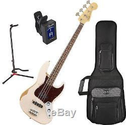 Fender Flea Signature Bass Guitar Roadworn Shell Pink with Stand and Tuner