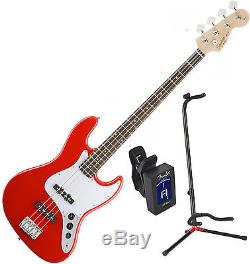 Fender Squier 0310760570 AFFINITY Jazz BASS RW RACE RED with Stand and Tuner