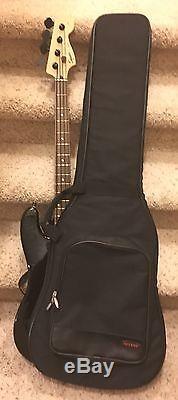 Fender Squire Black Electric Bass Guitar Seymour Duncan Humbuckers Hipshot Tuner