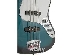 Fever 4-String Blue Electric Jazz Bass with Gig Bag, Tuner, Cable and Strap