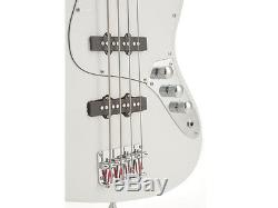 Fever 4-String White Electric Jazz Bass with Gig Bag, Tuner, Cable and Strap