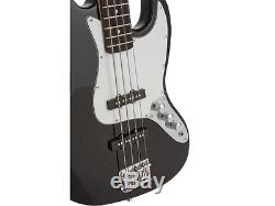 Fever Electric Jazz Bass Black with 20-Watts Amp, Gig Bag, Tuner, Cable & Strap