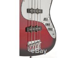 Fever Electric Jazz Bass Red with 20-Watts Amp, Gig Bag, Tuner, Cable and Strap