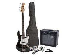 Fever Electric Jazz Bass with 20-Watts Amp, Gig Bag, Tuner, Cable & Strap