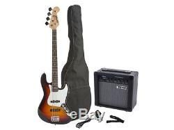 Fever Jazz Electric Bass with 20-W Amp, Gig Bag, Tuner, Cable and Strap Sunburst