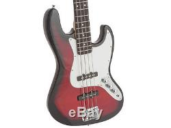 Fever Jazz Electric Bass with 20-Watts Amp, Gig Bag, Tuner, Cable and Strap, Red