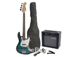 Fever Jazz Electric Bass with 20-Watts Amp, Gig Bag, Tuner, Cable and Strap blue