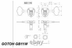 GOTOH GB11W Bass Tuning Machines Tuner Cast Open Gear 4L x 1R Black