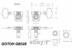 GOTOH GB528 Res-o-lite Bass Tuning Machines Tuners 4L Black