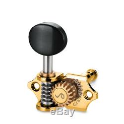 Genuine Schaller Germany Grand Tune Tuners, 3x3 Gold, Ebony Buttons 10510523