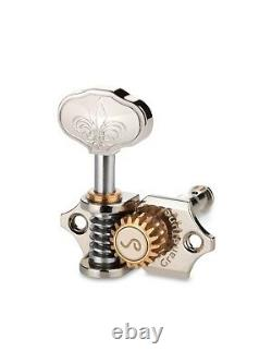 Genuine Schaller Germany Grand Tune Tuners, 3x3 Nickel, Fleur de Lis buttons