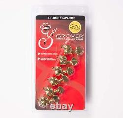 Grover 505GL6 Mini Roto-Grip Locking Gold 6 Inline Rotomatic Tuners Lefty/Treble