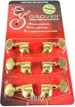 Grover Mini Locking RotoMatics Machine Heads Tuners 406G Gold 3+3