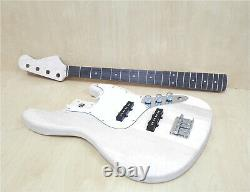 HSJB 19580 Complete No-Soldering 4-String Jazz Bass Guitar DIY Kit, Basswood Body