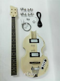 HSVL1910 Complete No-Soldering Electric Bass Guitar DIY Kit, HH, Hollow Body