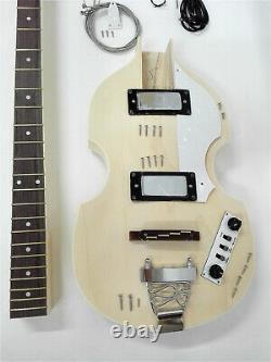 HSVL1910 Complete No-Soldering, Hollow Body Electric Bass Guitar DIY Kit, H-H