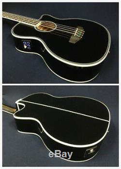Haze Black Acoustic Bass Guitar, 4/4,4-String withEQ, Tuner+Free Bag FB-711BCEQ/BK