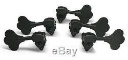 Hipshot HB6C-3/8 Ultralite Bass Guitar Tuners, BLACK, Clover Key, 5 STRING SET
