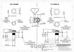 Hipshot Ultralite USA Tuner HB6Y 3/8 Black 5 String Inline Treble Set NEW