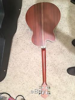 Ibanez AEB10E Acoustic-Electric Bass Guitar Tuner Custom Flat Black Hard Case