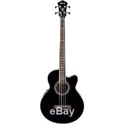 Ibanez AEB10EBK Acoustic/Electric Bass Guitar with Onboard Tuner Black Finish