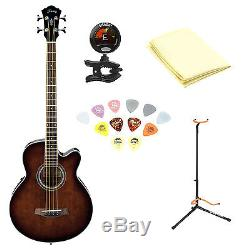 Ibanez Acoustic-Electric Bass Guitar with Cloth, Picks, Tuner and Stand