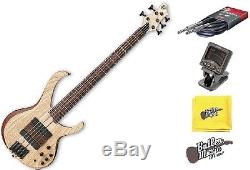 Ibanez BTB33 5-String Electric Bass Guitar Flat Natural withtuner + More