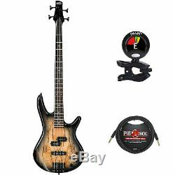 Ibanez GSR200 GIO 4-Str Electric Bass Guitar, Natural Gray withClip on Tuner&Cable