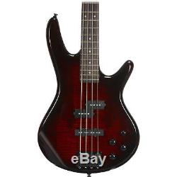 Ibanez GSR200 GIO 4-String Electric Bass Guitar Brown withStand, tuner & Pick