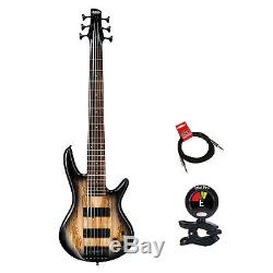 Ibanez GSR206SM 6 String Electric Bass Guitar in Natural Gray With Tuner & Cable