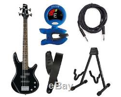 Ibanez GSRM20 4-String Electric Bass Black With Tuner, Stand, Strap and Cable