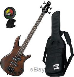 Ibanez Mikro 4 String Bass GSRM20 Walnut Flat with Gig Bag and Tuner