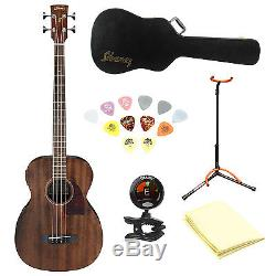 Ibanez PCBE12MH Acoustic-Electric Bass w. Cloth, Tuner, Picks, Case and Stand