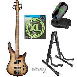 Ibanez SR655E Standard 5 string Electric Bass Natural withTuner, Stand, Strings