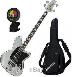 Ibanez TMB310 4-String Silver Sparkle Electric Bass with Gig Bag and Tuner