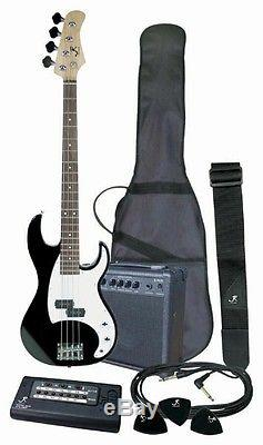 J. Reynolds Black Total Complete Bass Guitar Package with Amp, Tuner, Cable, Strap