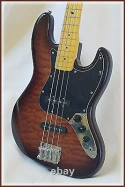 J bass deluxe with quilt maple top by Dillion + Fender AG 6 tuner FREE