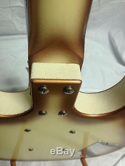 JERRY JONES Lefty 4 String Long Horn Copper Burst Bass Gotoh tuners gig bag