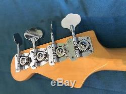 Jazz Bass Guitar Neck / Block Inlay Fender replacement With Wilkinson Tuners