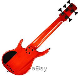 Kala U-Bass Solid Body 5-String Cherry withGig Bag, cloth, cable, tuner, and