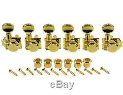 Kluson Revolution Diecast Tuners 6 Inline Vintage Locking H-Mount Gold