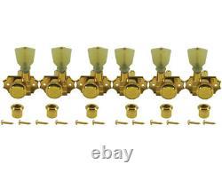 Kluson Revolution Tuners 3x3 No Collar Locking Pearloid button Gold KEDPNCL3-G