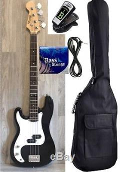 Left handed Bass Guitar for beginners Black iMEB807LF Bag, Strings, Cord, Tuner