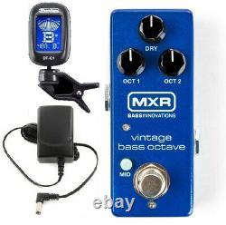 Mxr Vintage Bass Octave Mini Bass Guitar Effect Pedal M280 & Adapter (tuner)