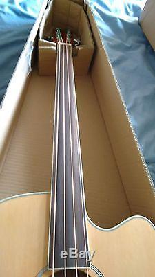 NEW Fretless Electro/Acoustic Bass Guitar, Jumbo Large Scale With Built-in Tuner