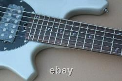 Naughty Boy Bass 5 Strings Silver Electric Guitar free shipping